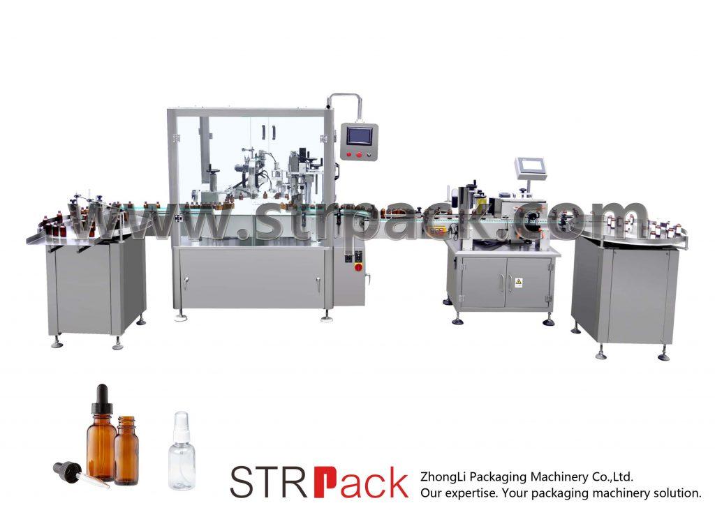 Automatikus csepegtető palack kitöltő és kupakoló gép